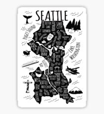 Seattle Illustrated Map in Black and White Sticker