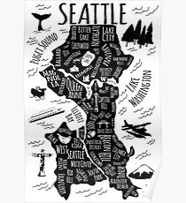 Seattle Illustrated Map in Black and White Poster