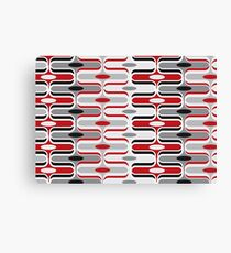 Retro Mod Ogee Red & Black Abstract Pod Pattern Canvas Print