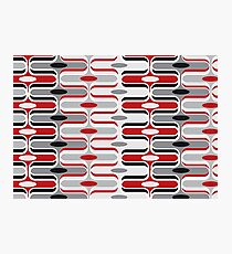 Retro Mod Ogee Red & Black Abstract Pod Pattern Photographic Print