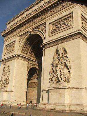 closeup of Arc de Triomphe, Paris by chord0