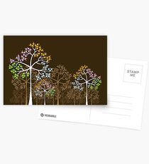 Colorful Four Seasons Trees Postcards