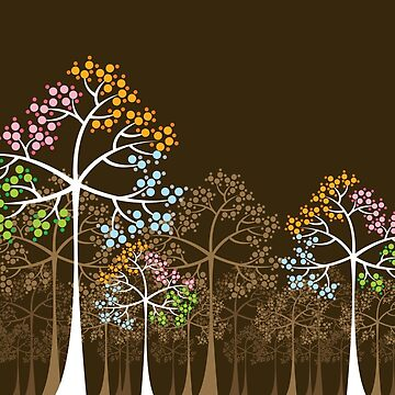 Colorful Four Seasons Trees by fatfatin