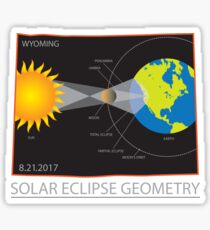 2017 Solar Eclipse Geometry Wyoming State Map Illustration Sticker