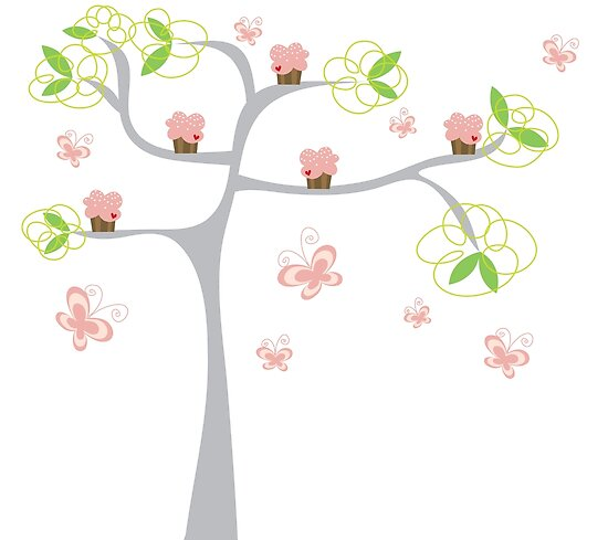 Whimsical Pink Cupcakes Tree II by fatfatin