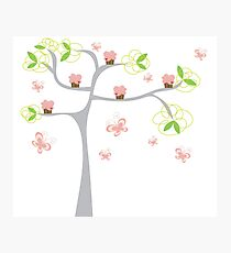 Whimsical Pink Cupcakes Tree II Photographic Print