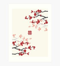 Red Oriental Cherry Blossoms on Ivory and Chinese Wedding Double Happiness | Japanese Sakura  Art Print