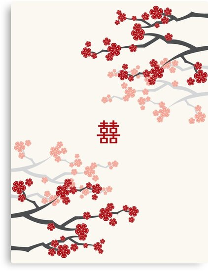 Red Oriental Cherry Blossoms on Ivory and Chinese Wedding Double Happiness   Japanese Sakura  by fatfatin