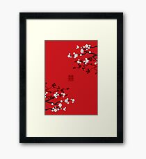 White Oriental Cherry Blossoms on Red and Chinese Wedding Double Happiness | Japanese Sakura  Framed Print