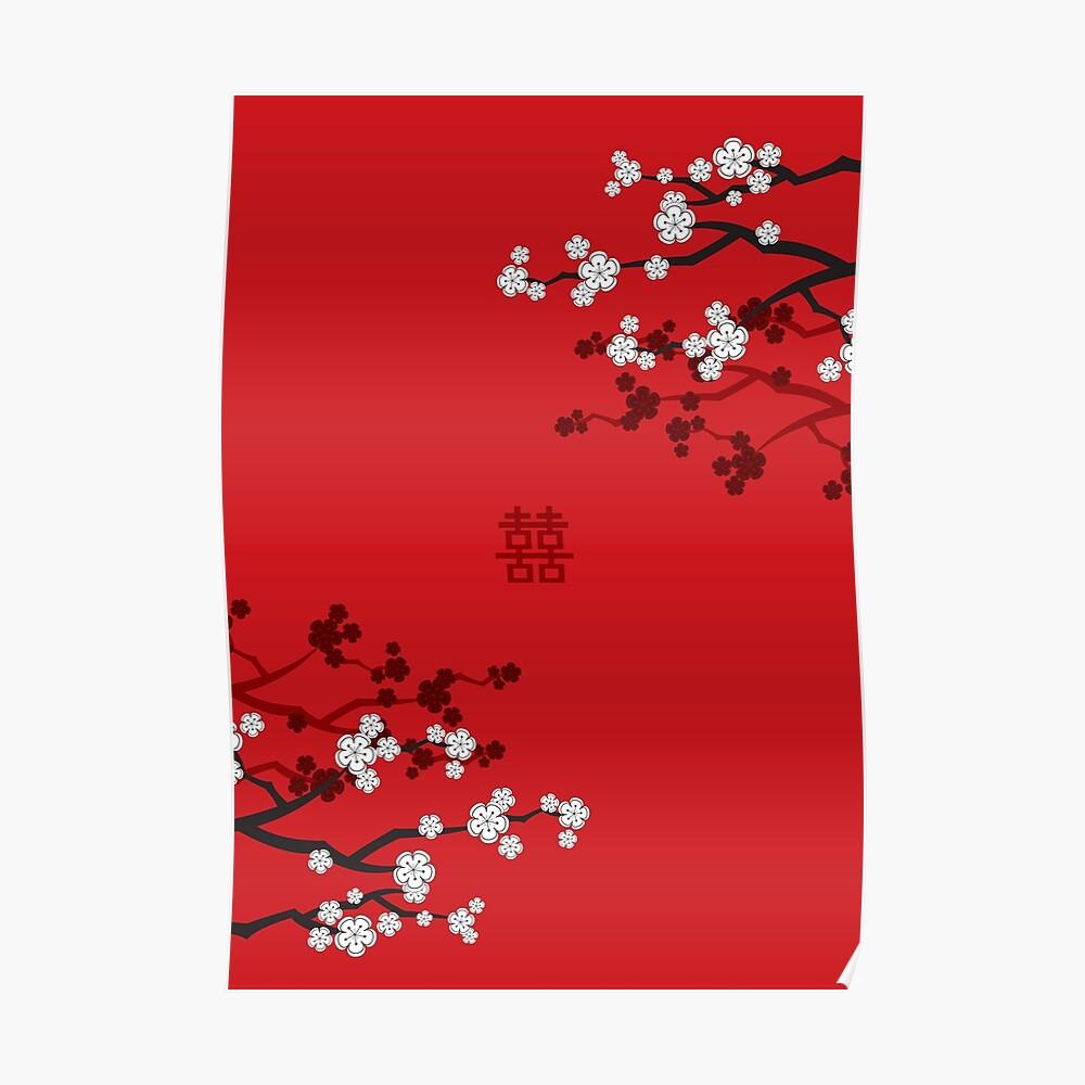 Weiße orientalische Kirschblüten auf rotem und chinesischem Hochzeits-doppeltem Glück | Japanische Sakura Poster