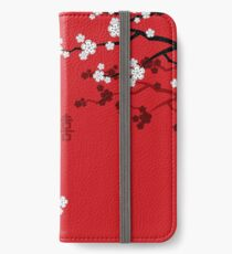 White Oriental Cherry Blossoms on Red and Chinese Wedding Double Happiness | Japanese Sakura  iPhone Wallet/Case/Skin