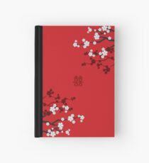 White Oriental Cherry Blossoms on Red and Chinese Wedding Double Happiness | Japanese Sakura  Hardcover Journal