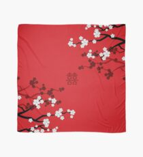 White Oriental Cherry Blossoms on Red and Chinese Wedding Double Happiness | Japanese Sakura  Scarf