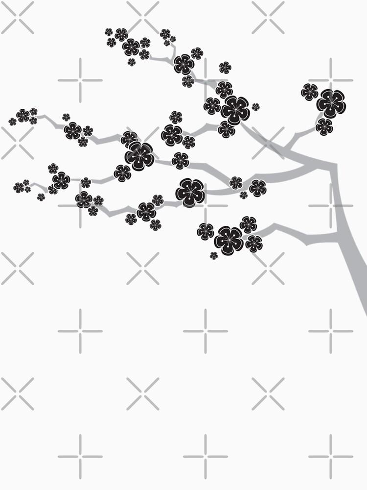 Black Oriental Cherry Blossoms | Zen Japanese Sakura Flowers by fatfatin