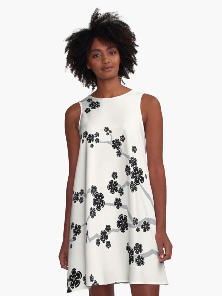 Black Oriental Cherry Blossoms | Zen Japanese Sakura Flowers A-Line Dress Front