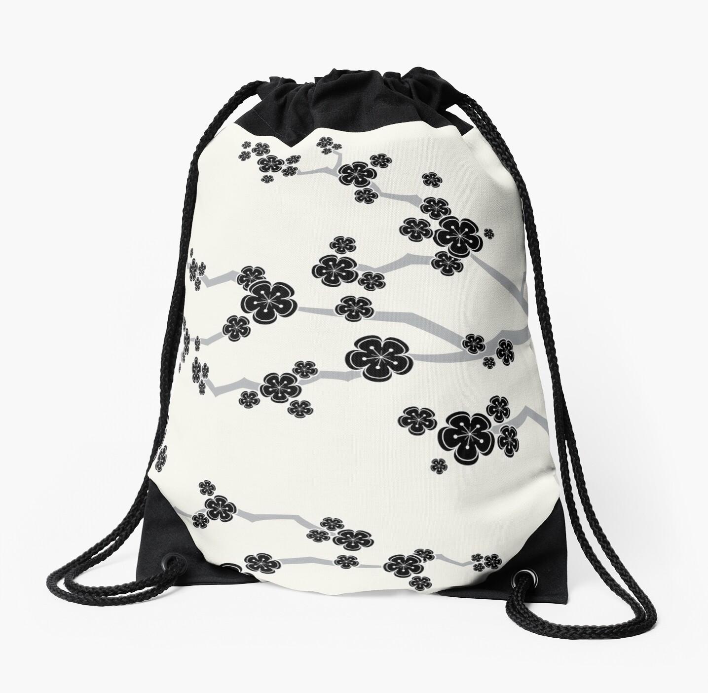 Black Oriental Cherry Blossoms   Zen Japanese Sakura Flowers by fatfatin