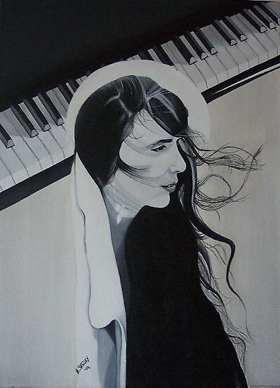 laura nyro acrylic painting music  by mshelley