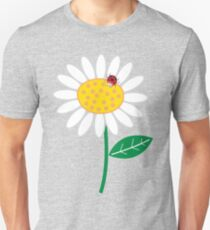 White Daisies and Red Ladybugs T-Shirt