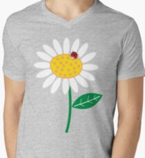 White Daisies and Red Ladybugs Men's V-Neck T-Shirt