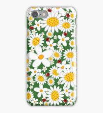 White Daisies and Red Ladybugs iPhone Case/Skin