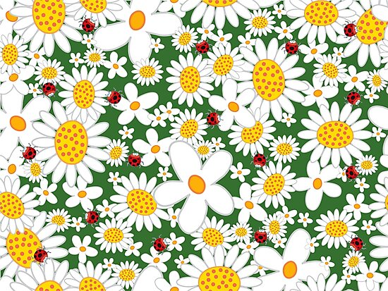 White Daisies and Red Ladybugs by fatfatin