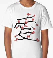 Chinese 'Ai' (Love) Calligraphy With Red Cherry Blossoms On Black Branches | Japanese Sakura Kanji Long T-Shirt