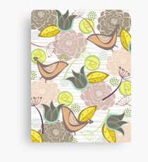 Pink Floral Potpourri Garden and Birds Canvas Print