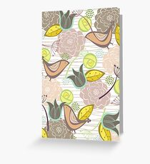 Pink Floral Potpourri Garden and Birds Greeting Card