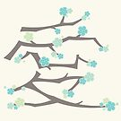 Chinese 'Ai' (Love) Aqua Blue Sakura Cherry Blossoms With Brown Branches | Japanese Sakura Kanji by fatfatin