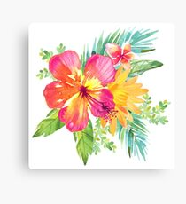 Tropical Colorful Flowers Canvas Print