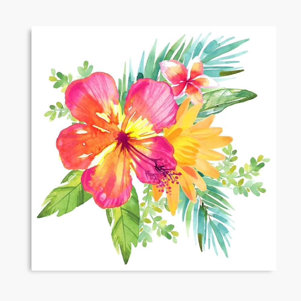 Flores coloridas tropicales Lienzo