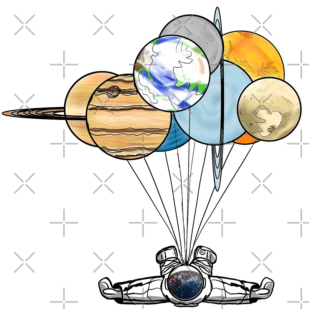 Astronaut with Balloon Planets Diving by Miguel Gonzalez