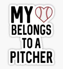 My Heart Belongs To A Pitcher Sticker
