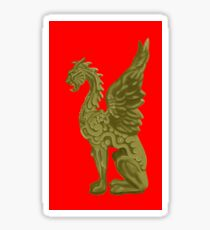 GOLDEN DRAGON SCULPTURE/RED Sticker