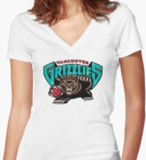 Vancouver Grizzlies Logo Women's Fitted V-Neck T-Shirt