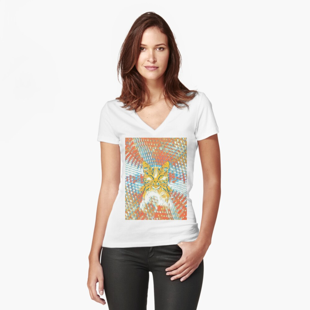 Yellow Cat Fitted V-Neck T-Shirt