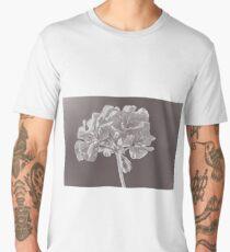 Black and White image of geranium flowers close-up Men's Premium T-Shirt