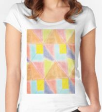 Artistic hand painted colorful geometric pattern Women's Fitted Scoop T-Shirt