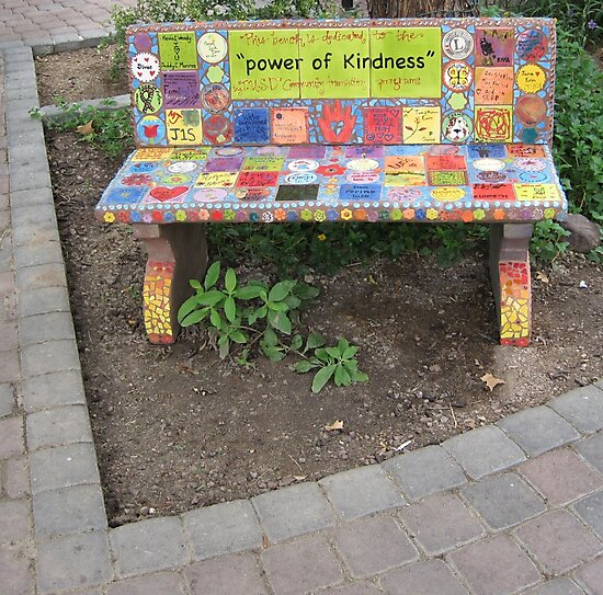 """""""Power of KINDNESS"""" - Tiled Bench by DAdeSimone"""