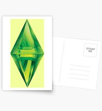 Sims Plumbob Aufkleber Postkarten