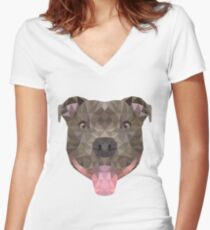 Low-Poly Smiling Staffy Face Women's Fitted V-Neck T-Shirt