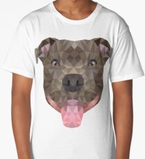 Low-Poly Smiling Staffy Face Long T-Shirt