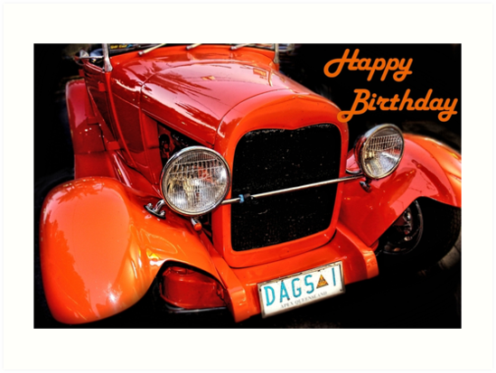 Greeting Card Happy Birthday Vintage Car
