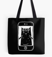Cat Taking A Selfie (White on Black)  Tote Bag