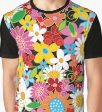 Whimsical Spring Flowers Power Garden Graphic T-Shirt
