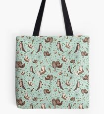 Otters in Blue Tote Bag