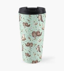 Otters in Blue Travel Mug