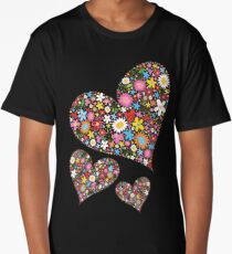 Whimsical Spring Flowers Valentine Hearts Trio Long T-Shirt