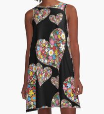 Whimsical Spring Flowers Valentine Hearts Trio A-Line Dress