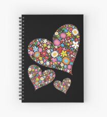 Whimsical Spring Flowers Valentine Hearts Trio Spiral Notebook